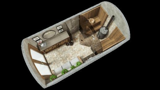 Sauna 9.7 m ² STANDARD (glass solution)